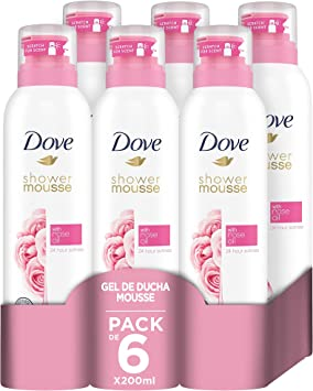Dove Gel de Ducha Mousse y Espuma de Depilación con Aceite de Rosa - Pack de 6 x 200 ml: Amazon.es: Belleza