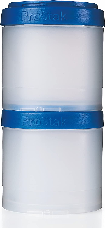 BlenderBottle ProStak Twist n' Lock Storage Jars Expansion 2-Pak with Pill Tray, Clear/Blue