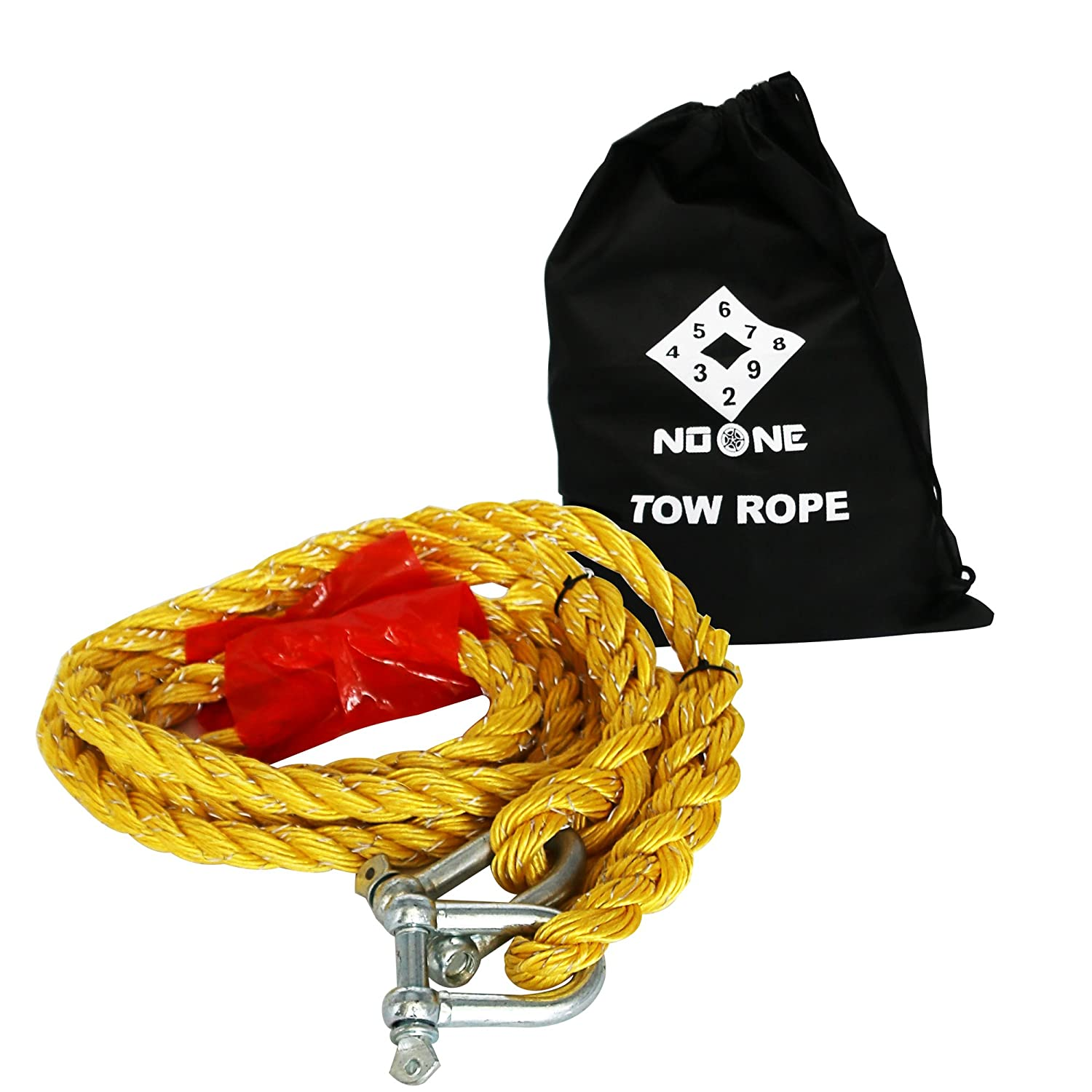 NoOne Car Tow Rope for SUV Pickup in Length 13 Feets and Maximum Affordable Pull 2.8 Tonnes with Free Storage Bag (Red)