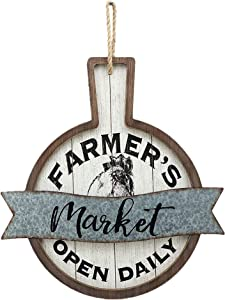 NO/BRAND Wood and Metal Circular Signs|Rustic Farmhouse Kitchen Wood Sign Plaque Wall Hanging Decor with Words-Farmer's Market Open Daily