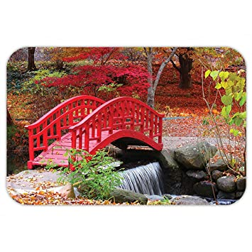 VROSELV Custom Door MatJapanese Decor Collection Asian Garden With Oak  Colored Cute Little Bridge Nature In