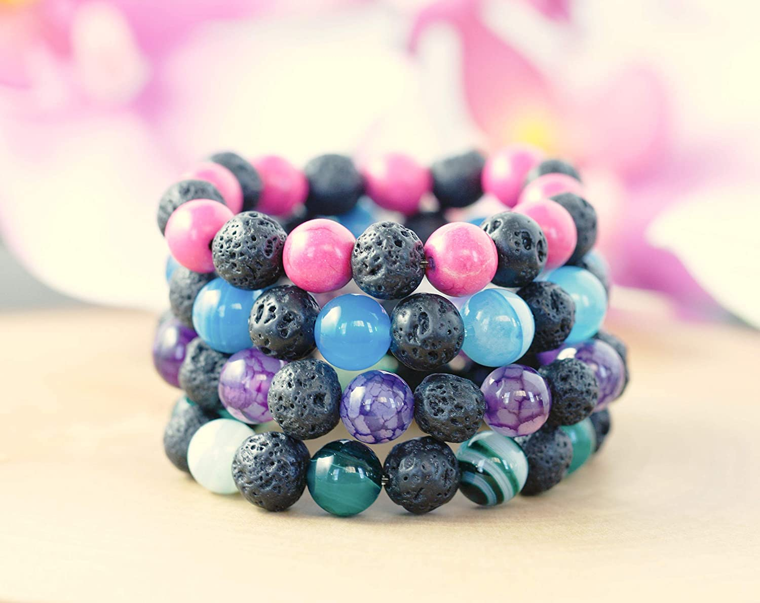 Essential Oil Bracelet Kids, Aromatherapy Jewelry Kids, Lava Bead Bracelet, 4 Colours to Choose From
