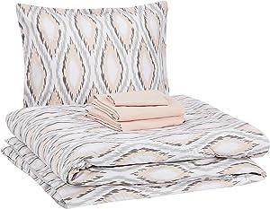 AmazonBasics 6-Piece Comforter Bedding Set, Twin / Twin XL, Blush Pink Sierra, Microfiber, Ultra-Soft
