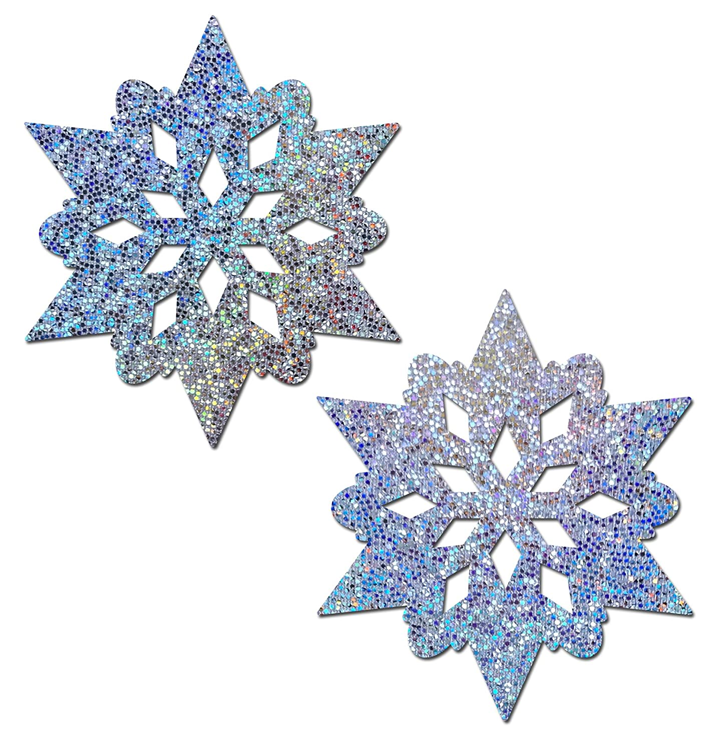 Pastease Women's Silver Glitter Snowflakes with Nipple Guards Nipple Pasties o/s SNW-GLT-SL