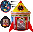 Playz 5-in-1 Rocket Ship Play Tent for Kids with Dart Board, Tic Tac Toe, Maze Game, & Immersive Floor - Indoor & Outdoor Popup Playhouse Set for Toddler, Baby, & Children Birthday Gifts