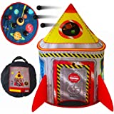 Playz 5-in-1 Rocket Ship Play Tent for Kids with Dart Board, Tic Tac Toe, Maze Game, & Immersive Floor - Indoor…