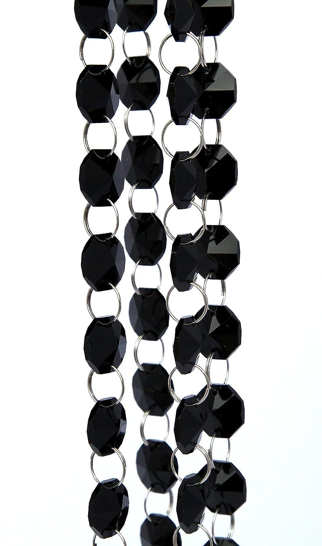 CRYSTAL GARLAND STRANDS 14MM GLASS 1 METER LENGTH 10 COLORS Black