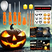 FATHER.SON 2019 Professional 8PCS Halloween Pumpkin Carving Kit & 2 LED Candles light & 100 Carving Stencils & Instructions Packing With Stylish Pen Bags