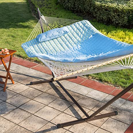 lazy daze hammocks 12 feet steel hammock stand with cotton rope hammock  bo quilted polyester amazon     lazy daze hammocks 12 feet steel hammock stand with      rh   amazon