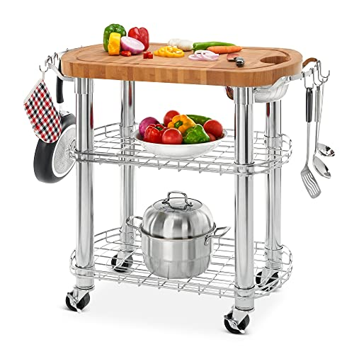 Seville Classics Rolling Oval Solid-Bamboo Butcher Block Top Kitchen Island Cart with Storage, 30 W x 20 D x 36 H