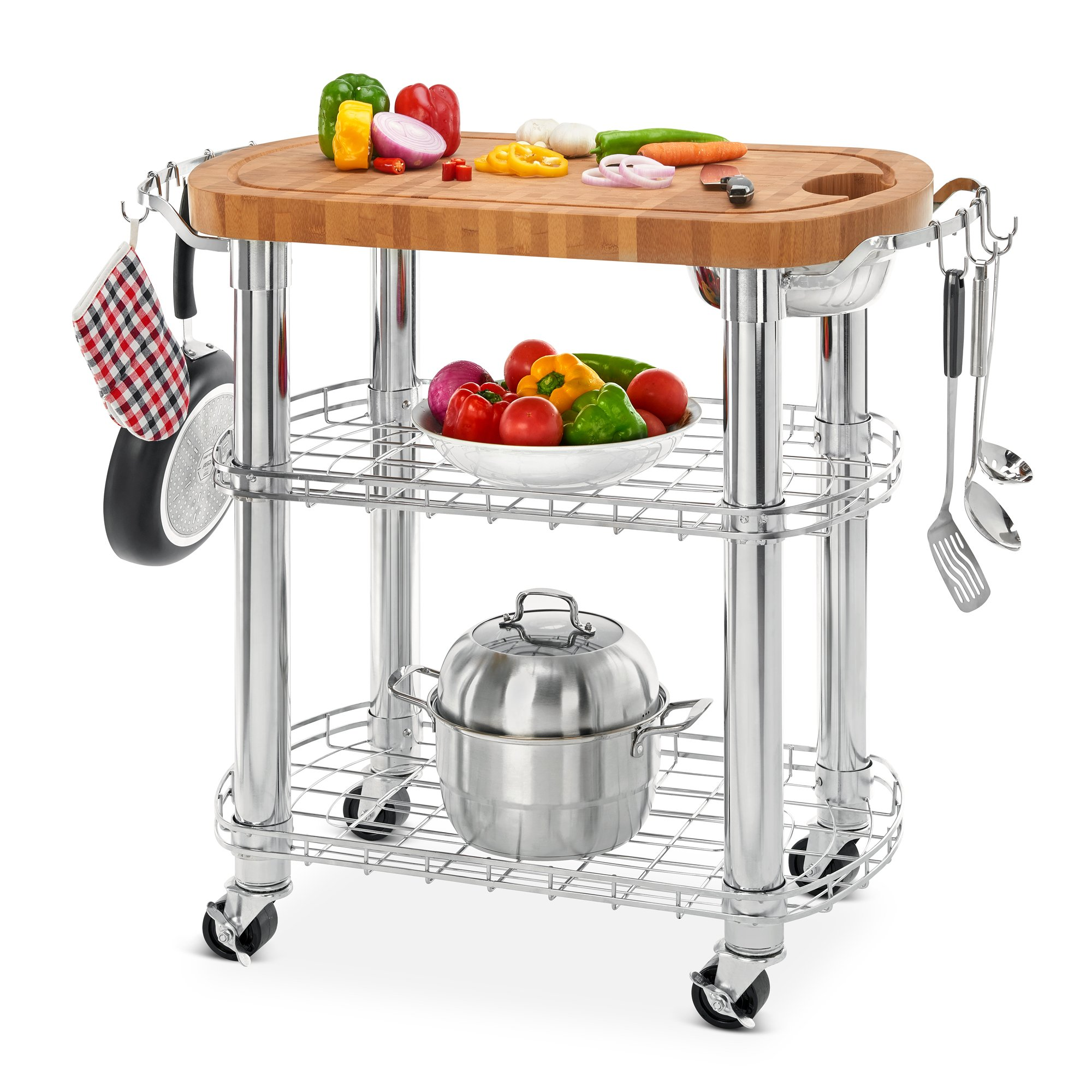 Seville Classics Rolling Oval Solid-Bamboo Butcher Block Top Kitchen Island Cart with Storage, 30'' W x 20'' D x 36'' H
