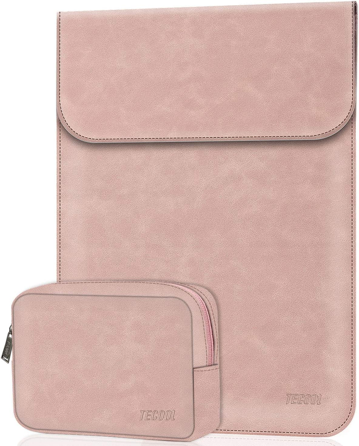 "TECOOL Laptop Sleeve Compatible with 13.3"" HP Envy x360 13, MacBook Air/Pro 13, Dell Inspiron 13 2-in-1, ASUS Zenbook 13, 13.5"" Surface Laptop 3/2, Lenovo Yoga C740 14"", Synthetic Leather Light Pink"