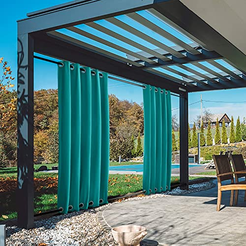 TWOPAGES 150W x 102L Turquoise Extra Wide Outdoor Curtain