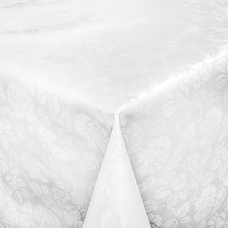 ANRO Hule mesa mantel de hule lavable relieve Impresión Color Blanco Longitud a Elegir, toalla