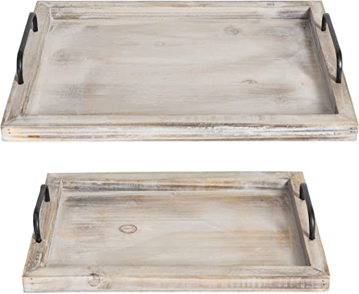 Food Serv Wood Serving Tray With Handles 2 Pack Serving Tray Food Tray Set