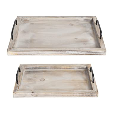 "Besti Rustic Vintage Food Serving Trays (Set of 2) | Nesting Wooden Board with Metal Handles | Stylish Farmhouse Decor Serving Platters | Large: 15 x2 x11"" - Small: 13 x2 x9"" inches (Rustic)"