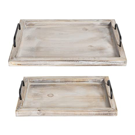 Besti Rustic Vintage Food Serving Trays Set Of 2 Nesting Wooden Board With Metal Handles Stylish Farmhouse Decor Serving Platters Large 15 X2