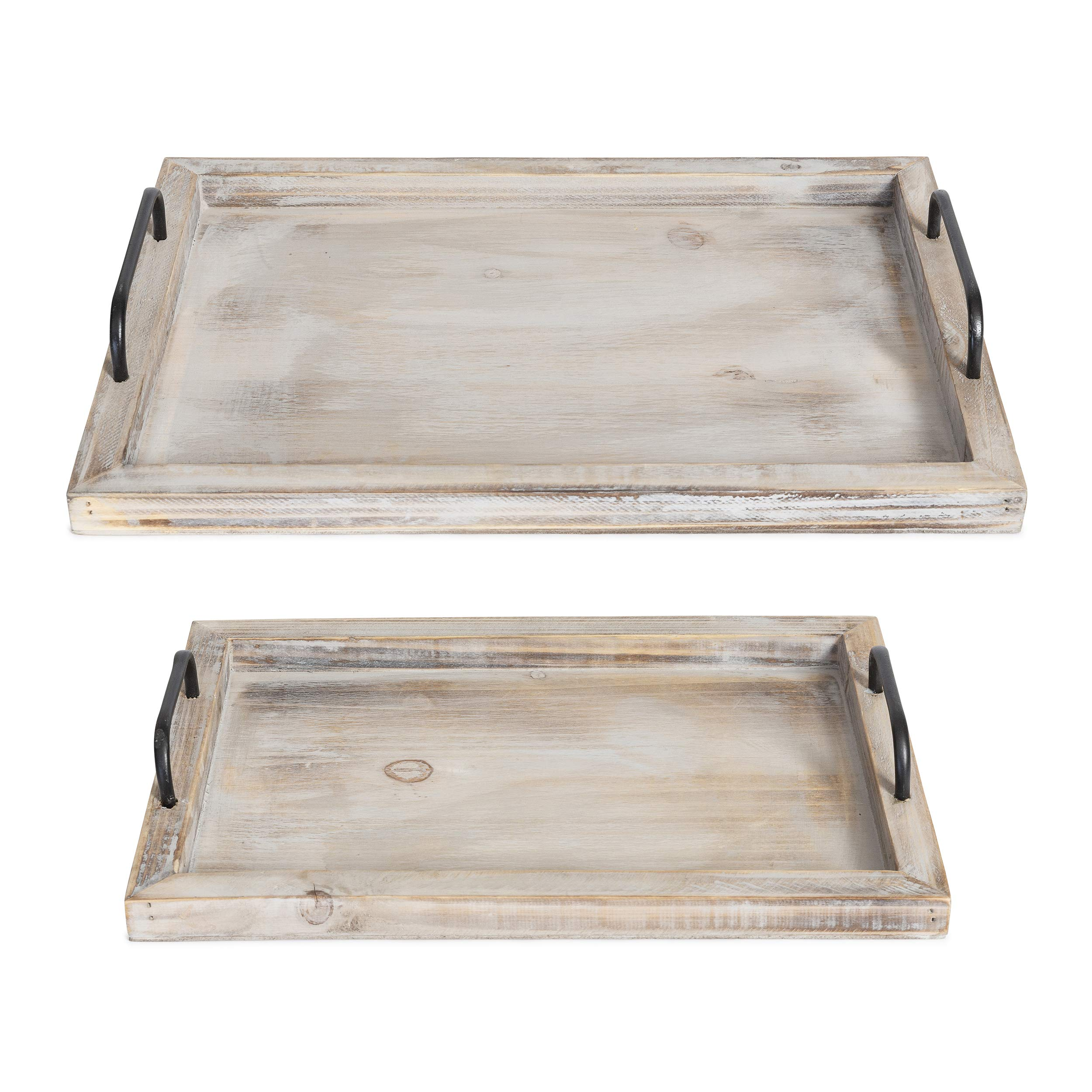 Rustic Style Rectangular Wood Serving Tray with Distressed Whitewash Finish