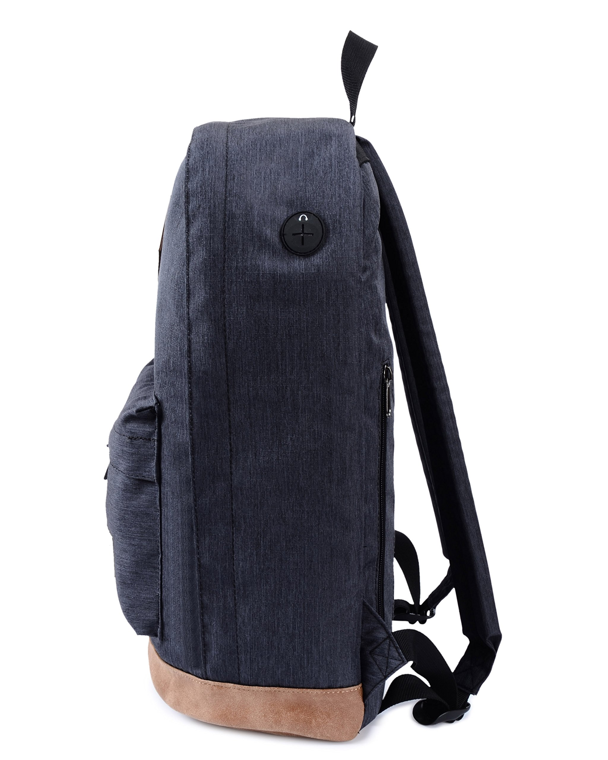 936Plus College School Backpack Travel Rucksack | Fits 15.6'' Laptop | 18''x12''x6'' | Black by hotstyle (Image #4)