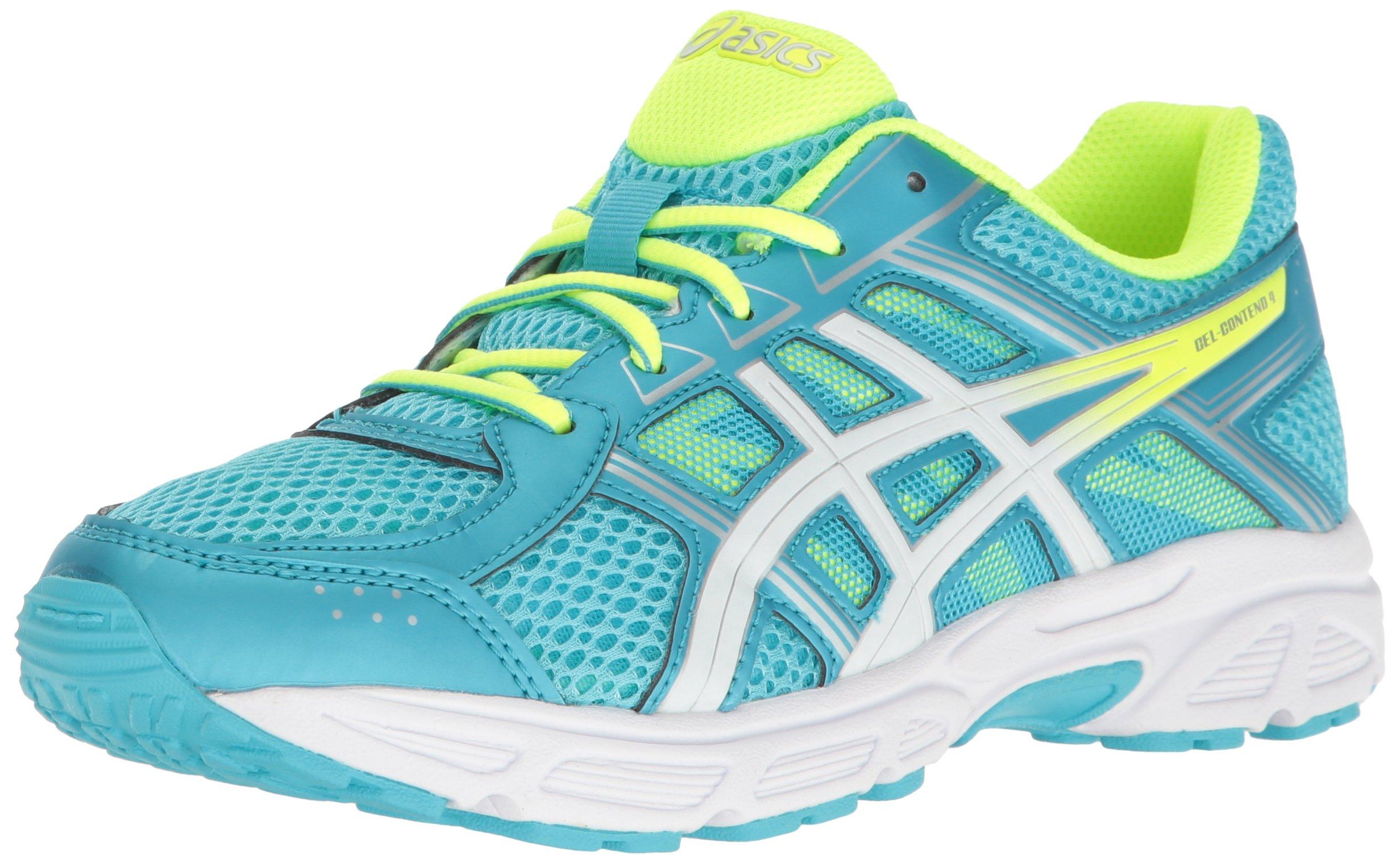 ASICS Girls' Gel-Contend 4 GS Running Shoe, Aquarium/White/Safety Yellow, 1 M US Big Kid