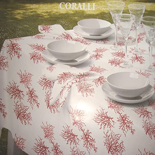 Christmas Tablescape Decor - Coralli ocean reef red coral on white tablecloth by Mirabello