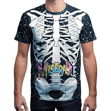 semen Homme T-Shirt Mode Imprimé 3D Bone Crâne Blouse Tee Top Haut Loose  Confort 1692b5d5f5a1