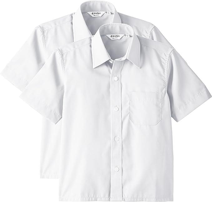 "BOYS SCHOOL SHIRTS SHORT SLEEVE WHITE COLLARS 11/""-14.5/"""