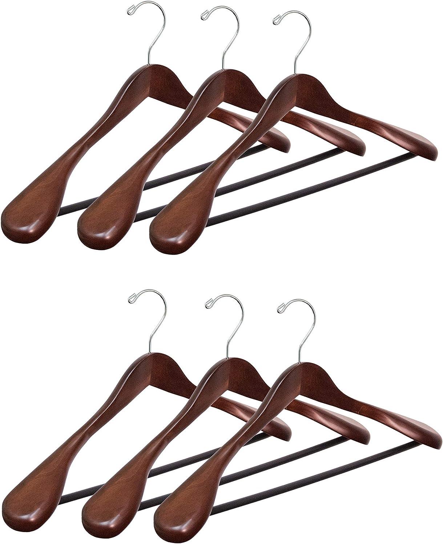 Mahogany Finish 6 Pack Topline Classic Wood Wide Shoulder Suit Hangers