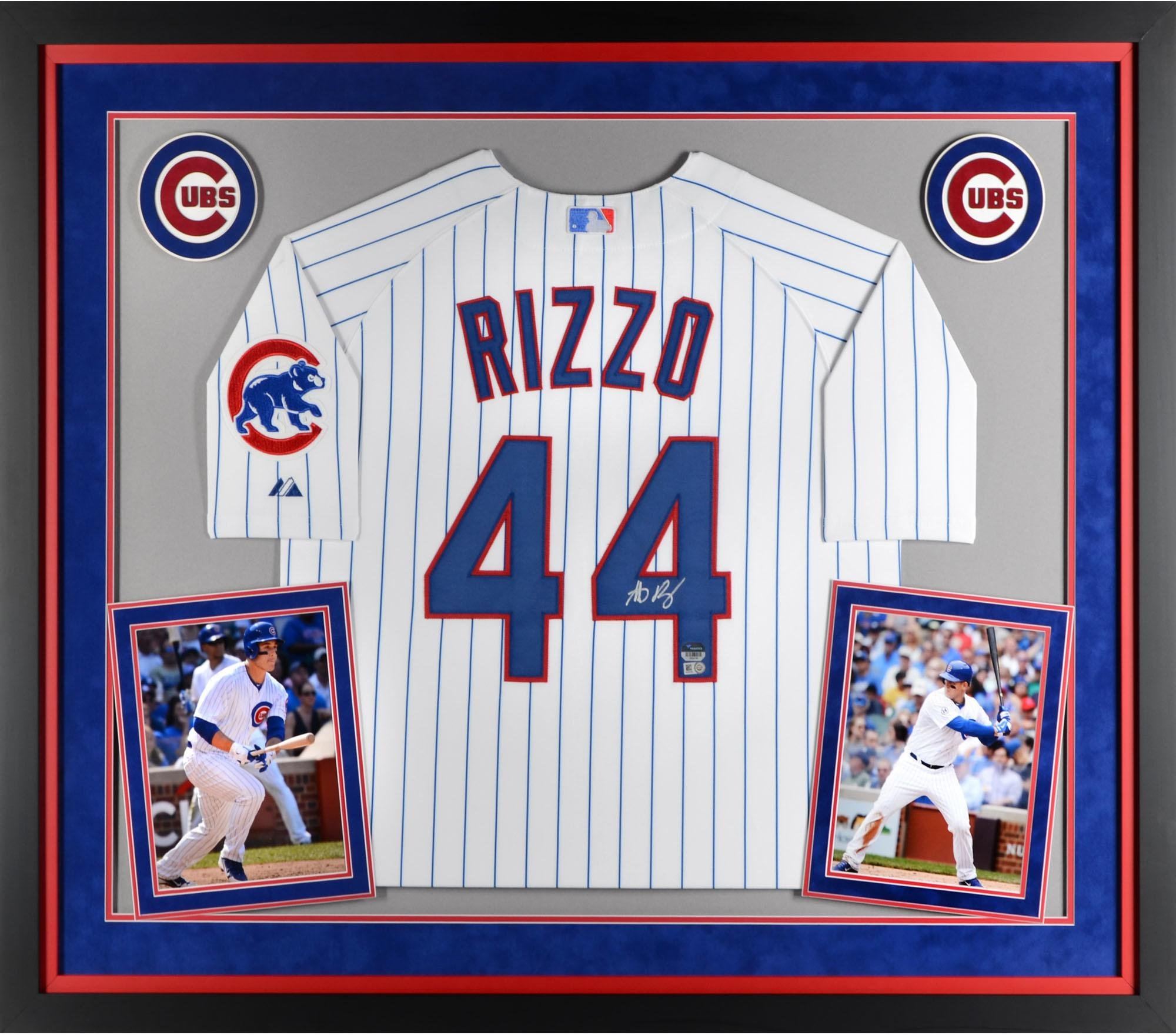Anthony Rizzo Chicago Cubs Deluxe Framed Autographed White Authentic Jersey Fanatics Authentic Certified