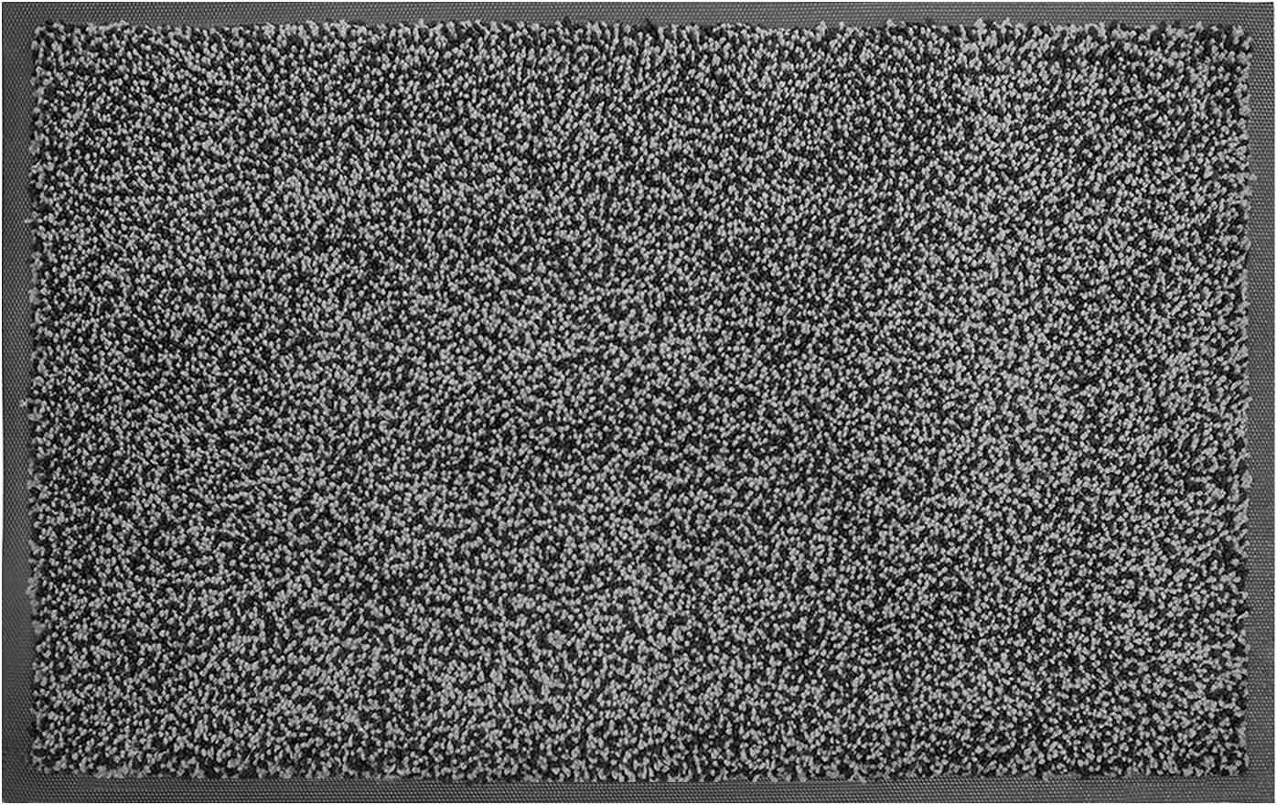 "MATALL Home Entrance Door Mat - Microfiber Super Absorbent Mat Floor Mats with Durable Rubber Backing Indoor Outdoor Low-Profile Doormats for House High Traffic Areas (35""x23.5"", Black&Grey )"