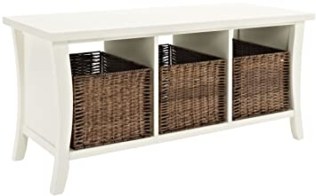 Crosley Furniture Wallis Entryway Storage Bench   White