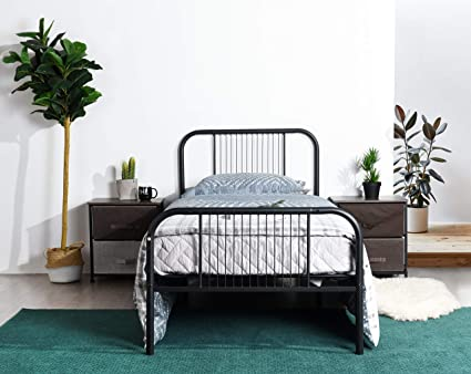 Amazon Com Black Metal Platform Bed Frame Twin Size Headboards And