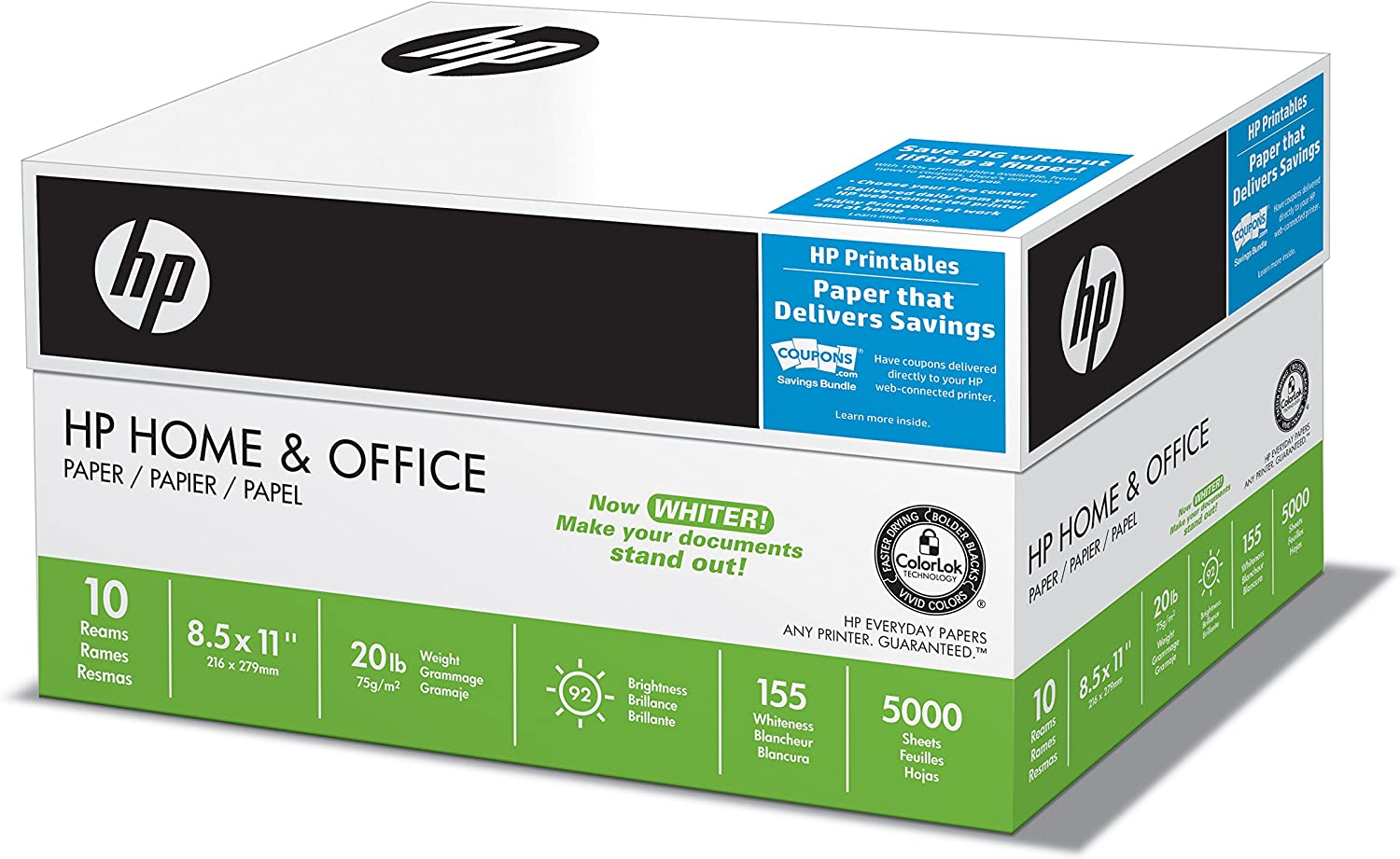 HP Printer Paper 8.5x11 Home & Office 20 lb 10 Ream Case 5000 Sheets 92 Bright Made in USA FSC Certified Copy Paper HP Compatible 200510C