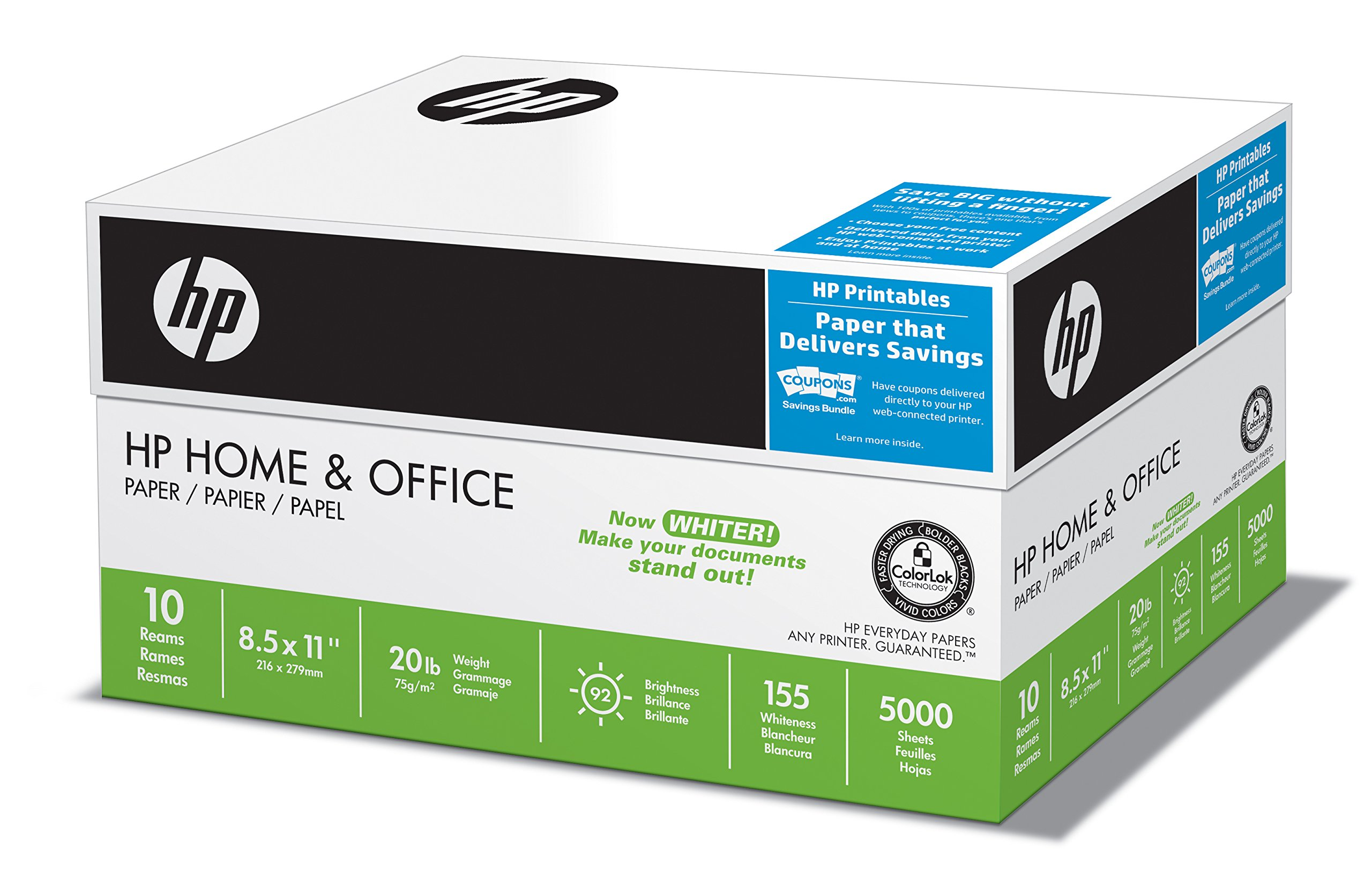 HP Printer Paper, Home & Office20, 8.5 x 11, Letter, 92 Bright, 5,000 Sheets / 10 Ream Carton (200510C) Made In The USA