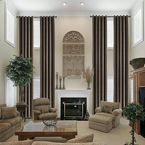 Frelement Noise Reduction Velvet Extra Long Curtains 52W x 240L Inches Grommet Light Blocking Drape
