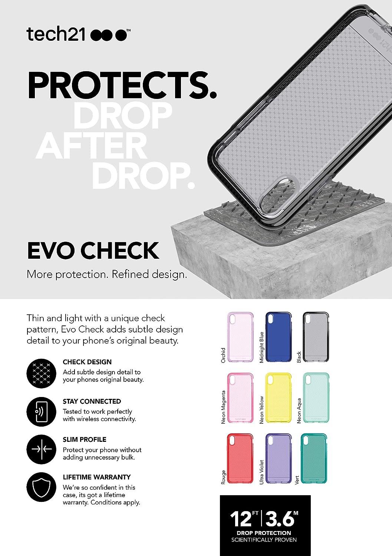 Gris Ahumado//Negro tech21 EVO Check Funda Protectora para Apple iPhone XR
