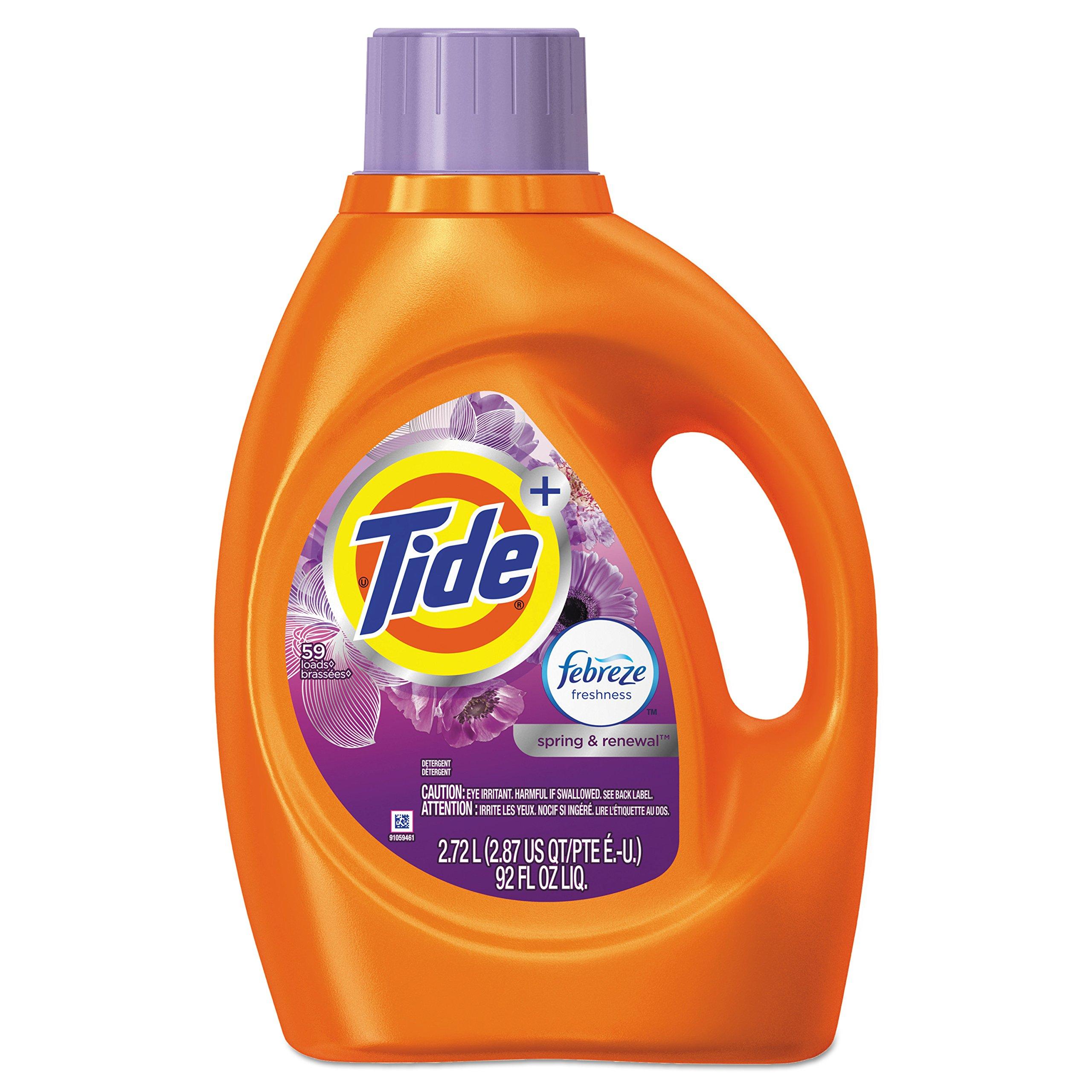 Tide 87566CT Plus Febreze Liquid Laundry Detergent, Spring & Renewal, 92oz Bottle (Case of 4)