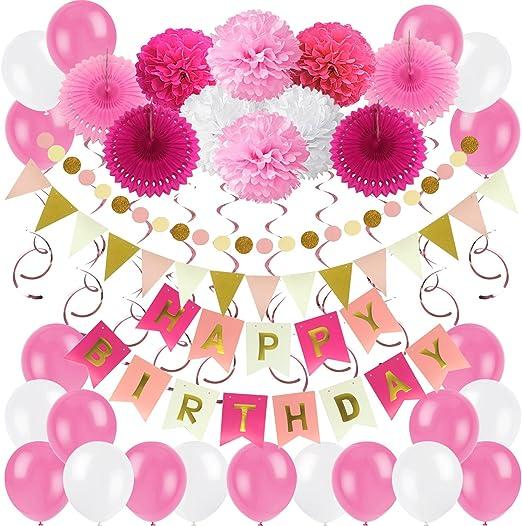 13pcs Happy Birthday Banner Gold Birthday Decoration Girl Pink Gold White Kit Tissue Paper Pom Poms Fans