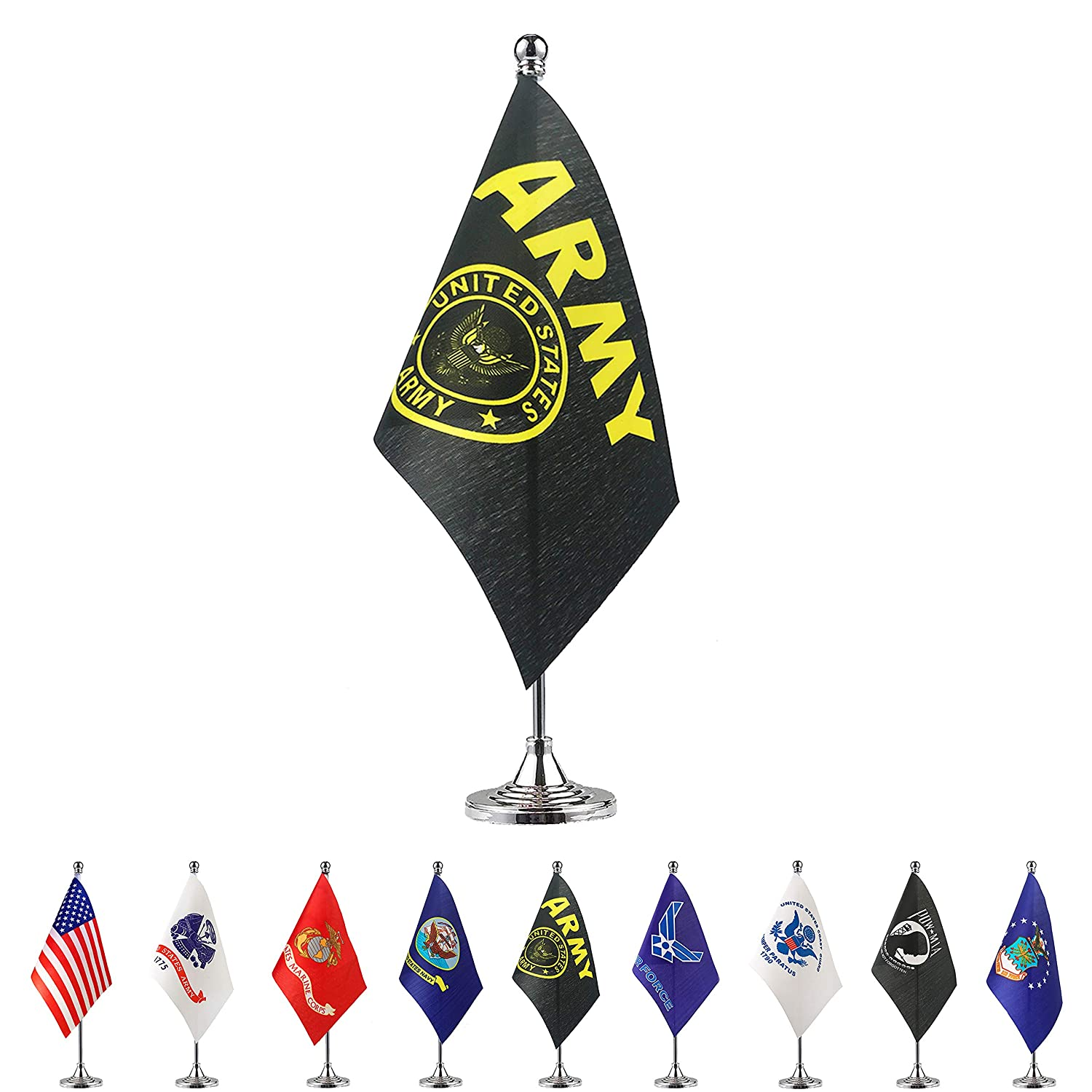 TSMD US Army Gold Crest Desk Flag Small Mini United States Military Table Flags with Stand Base,Decorations Supplies for Army Party Events Celebration