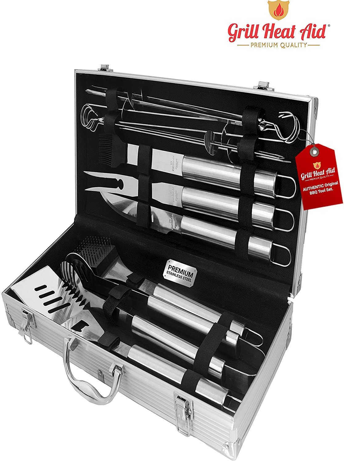 Stainless Steel BBQ Smoker Accessories Premium 12 Pc Set Sturdy, Well Weighted Precision Barbecue Grill Tool Set w XL Burn Rust Proof Design Construction Looks Sharp, Makes the Best Gift