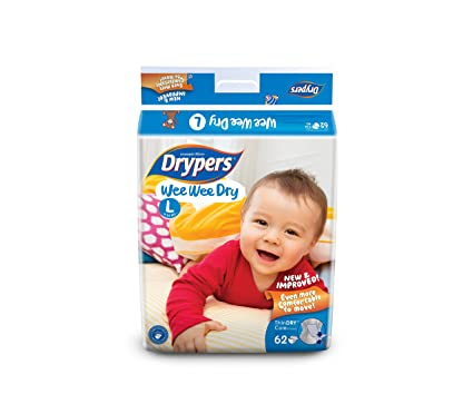 d0ae0679583e Buy Drypers Wee Wee Dry Large Size Diapers (62 Counts) Online at Low Prices  in India - Amazon.in