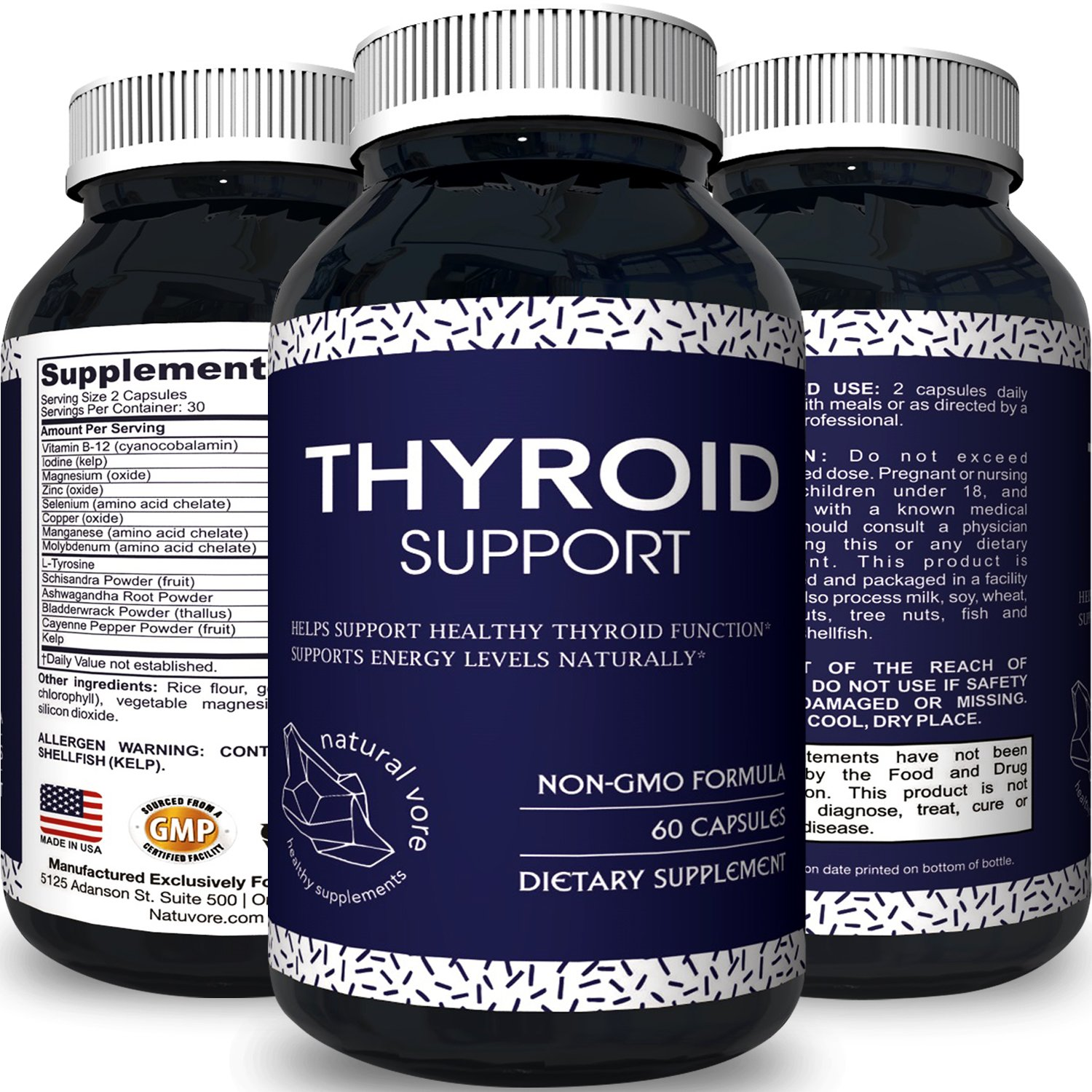 Thyroid Support Natural Supplement with Pure Vitamin B12 Zinc Iodine and Ashwagandha Antioxidant - Improve Thyroid Function Increase Energy Boost Metabolism and Immune System Pills by Natural Vore
