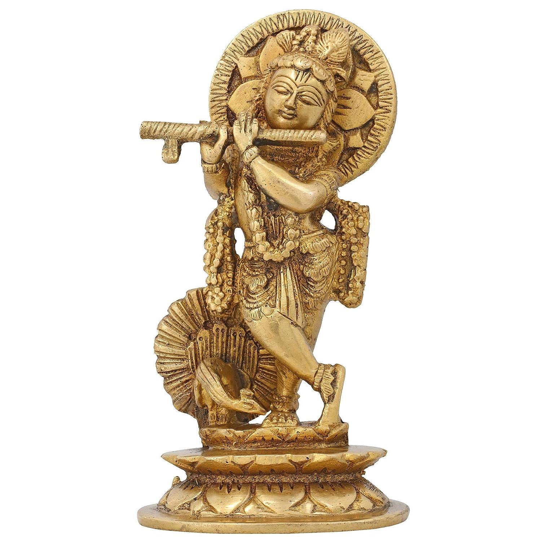 Statue Krishna Playing Flute Sculpture Figurine Hindu ...