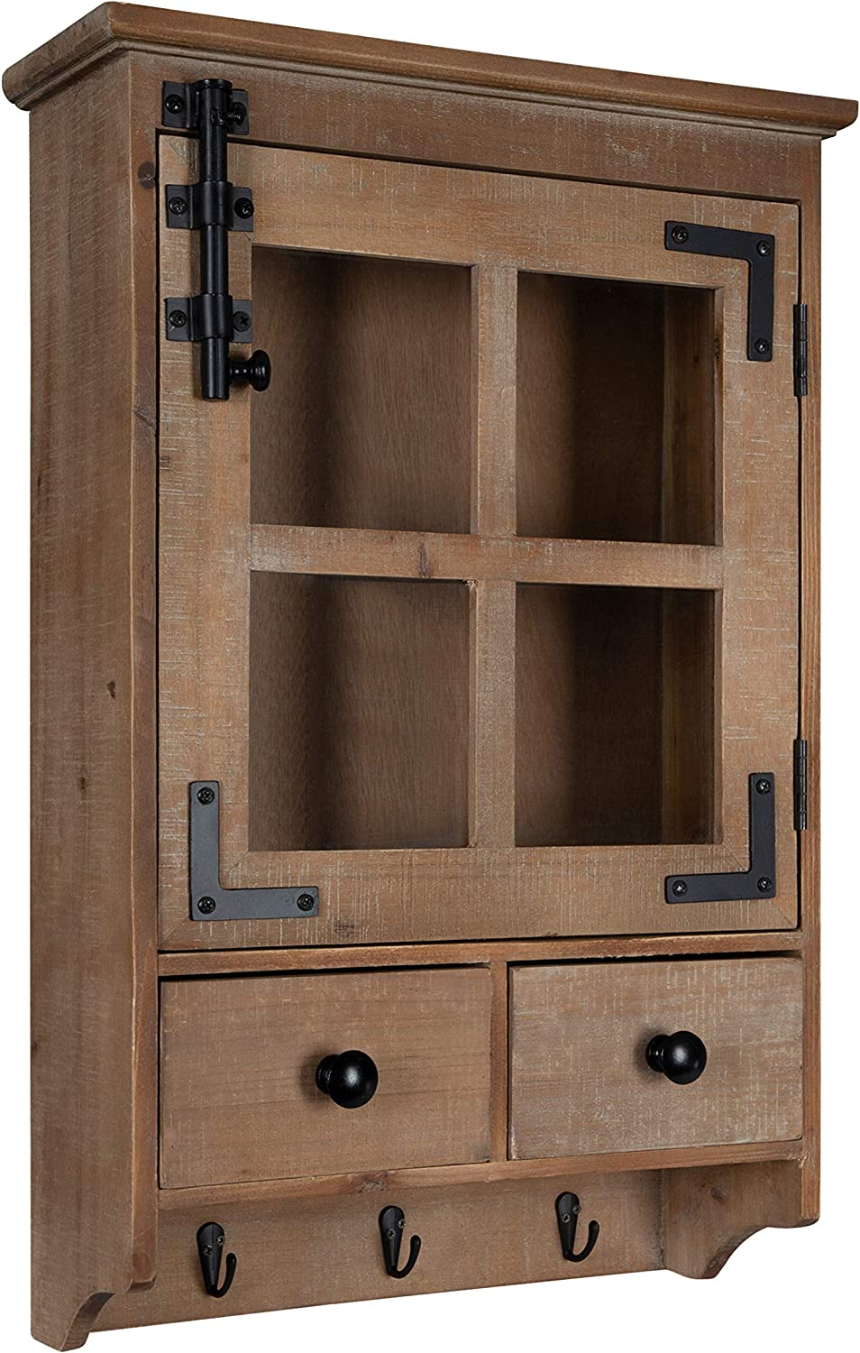 Kate and Laurel Hutchins Farmhouse Wood Wall Cabinet with Window Pane Glass Door and 2 Storage Drawers, Rustic Brown
