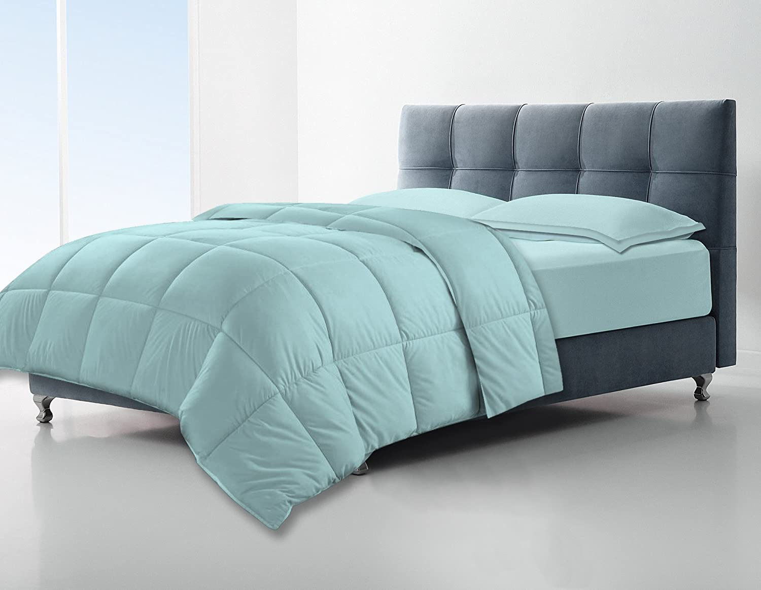 Clara Clark All Season Down Alternative Comforter/Duvet, Full/Queen, Light Blue Aqua