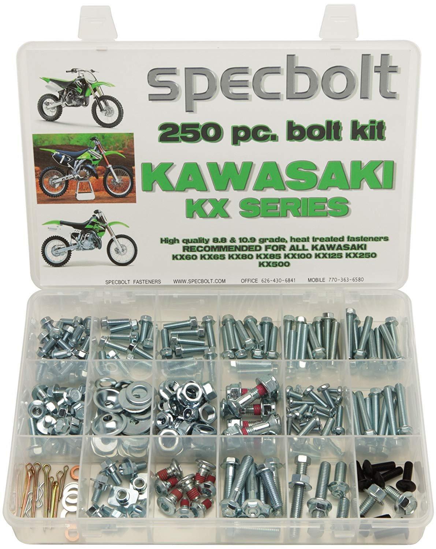Specbolt Fasteners 250pc Maintenance Restoration OE Spec Motorcycle Bolt Kit for Kawasaki KX 2 Stroke MX Dirtbike KX60 KX65 KX80 KX85 KX100 KX125 KX250 KX500 60 65 80 85 100 125 250 500