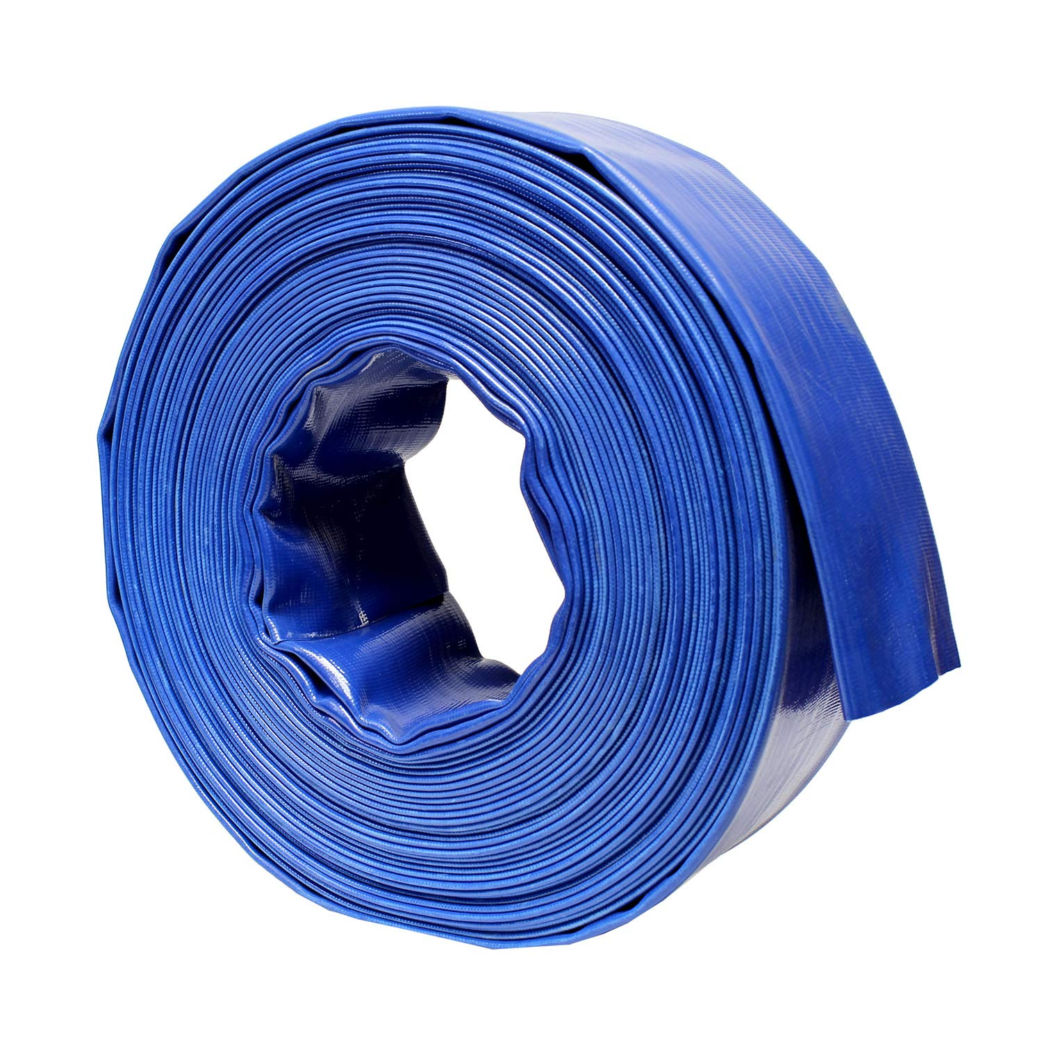 BISupply | Discharge Hose - 3'' in by 100' FT Flat Lay Sump Pump Discharge Hose, Blue PVC Backwash Hose by BISupply