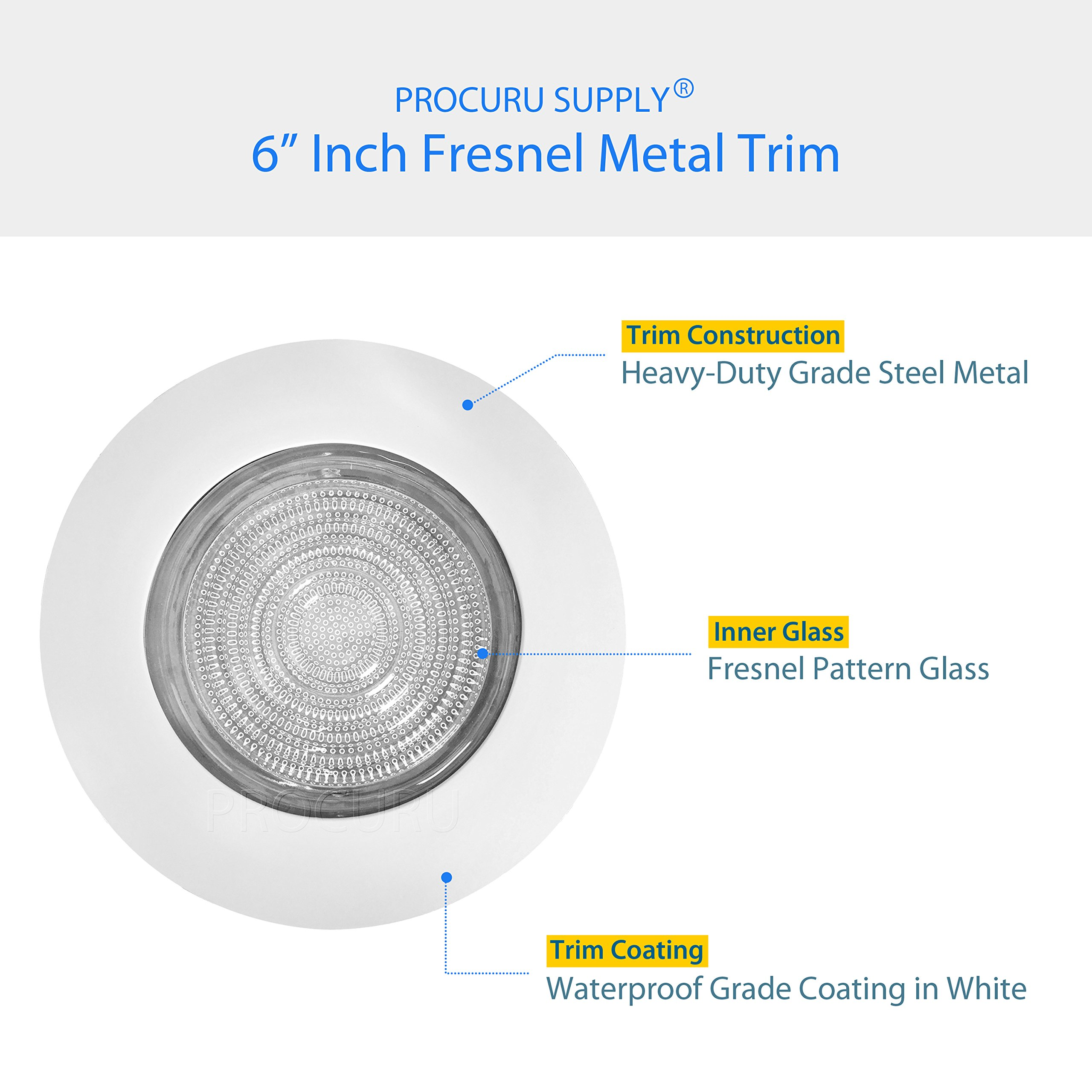 PROCURU 6'' Fresnel Glass Lens with White Metal Shower Trim - for Wet Locations - for 6'' Recessed Can Lights - UL Listed (White-Fresnel (1-Pack)) by PROCURU (Image #4)