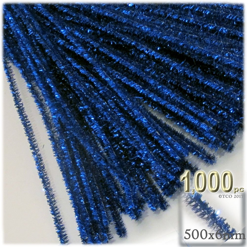 The Crafts Outlet Chenille Sparkly Stems, Pipe Cleaner, 20-in (50-cm), 1000-pc, Royal Blue