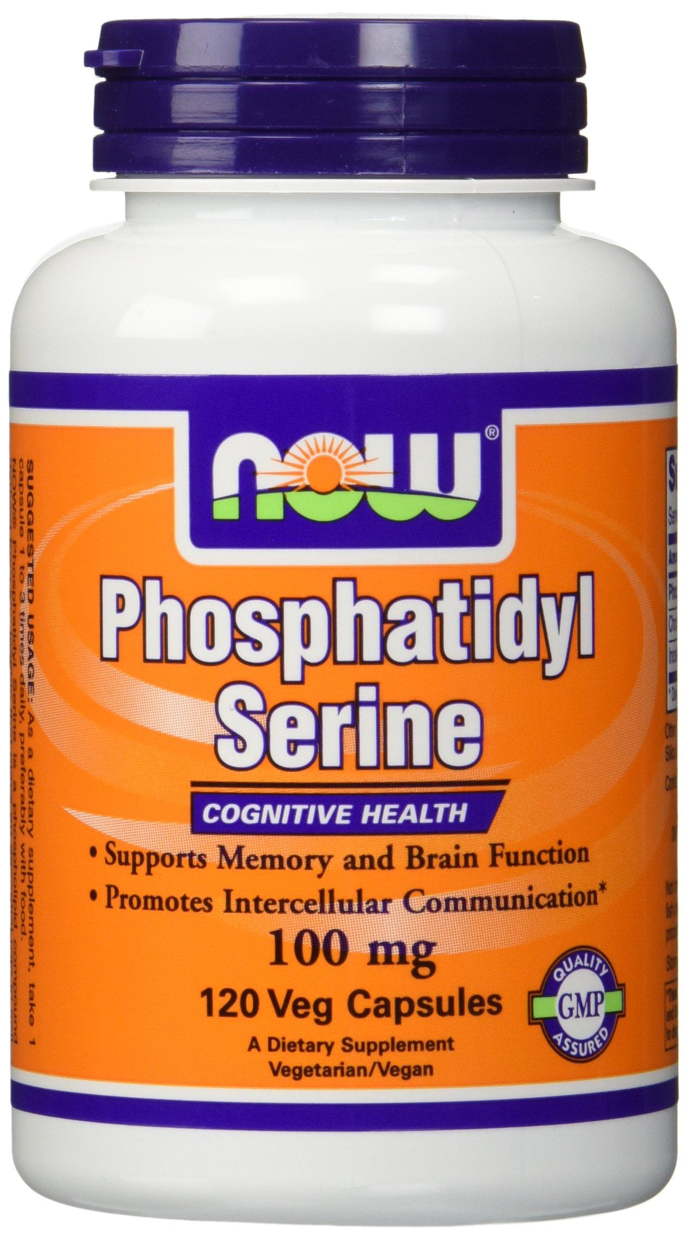 NOW Foods Phosphatidyl Serine 100mg,(2 x 120) 240 Veg Capsules